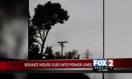 Bounce House Flies Into Power Lines