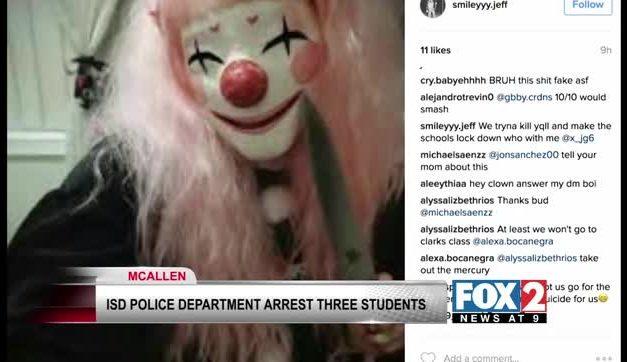McAllen ISD Arrests Three in Clown Hoaxes