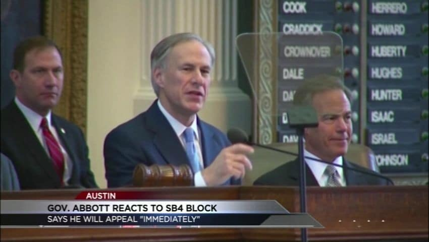 Governor Abbott reacts to the temporary block of SB4