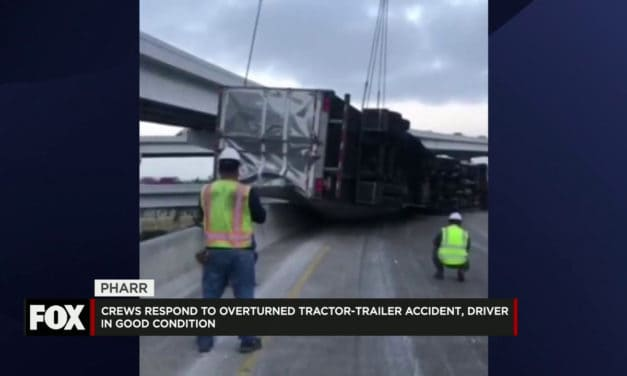 Overturned Tractor-Trailer Stops Traffic on 281 Interchange