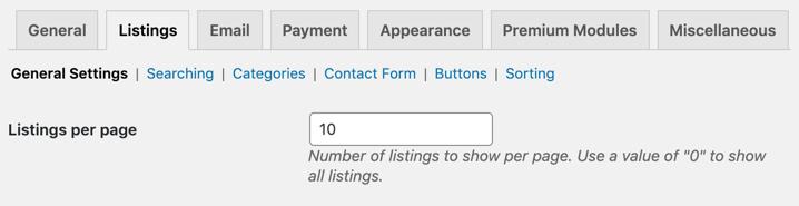 directory listing settings