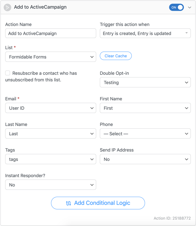 ActiveCampaign forms settings