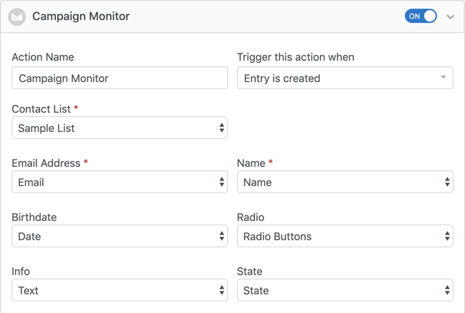Campaign Monitor forms settings