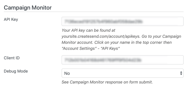 Formidable Campaign Monitor Forms API settings