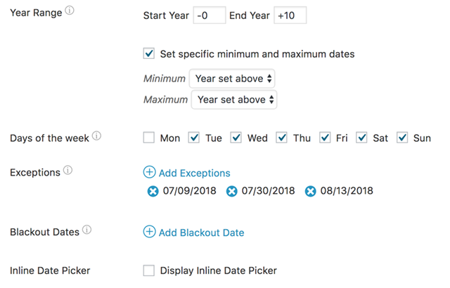 Datepicker options form