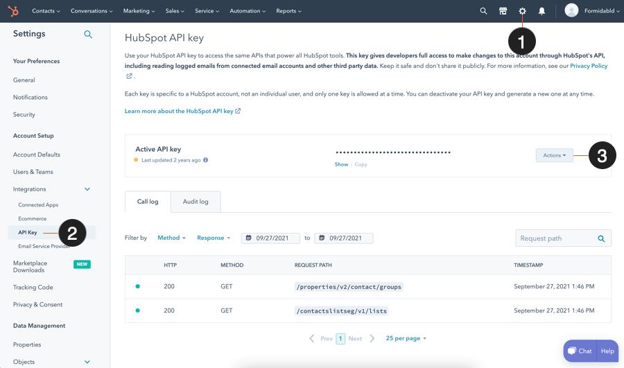 HubSpot get API key
