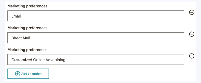 MailChimp GDPR Marketing Preferences Options