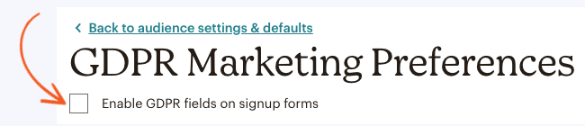 MailChimp GDPR Marketing Preferences