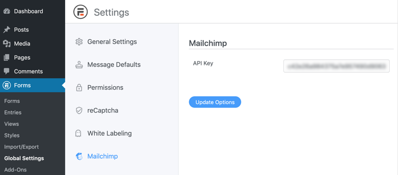 Mail Chimp API Key