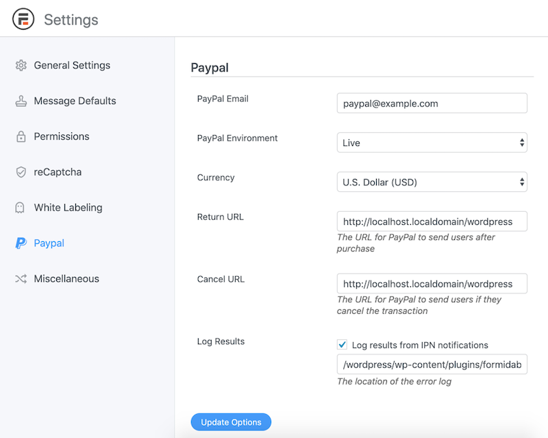 PayPal forms plugin Global Settings