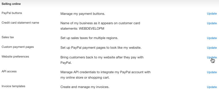 PayPal Selling Online