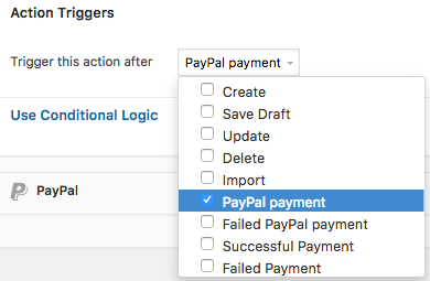PayPal form Trigger PayPal