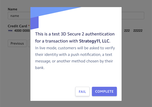 Stripe 3D secure strong customer authentication