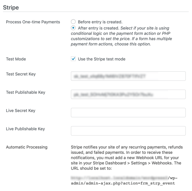 Stripe Global Settings