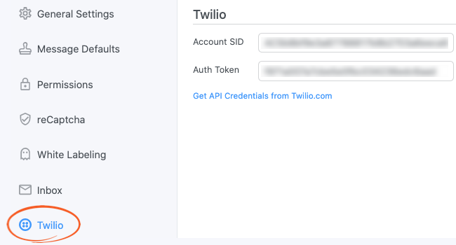 Twilio Global Settings