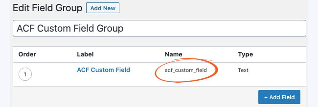 ACF Field Group Name