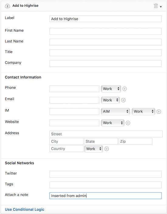 Highrise CRM form - Set up Form Action