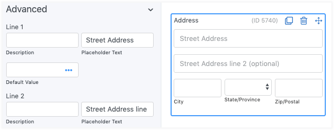 Address fields Placeholder