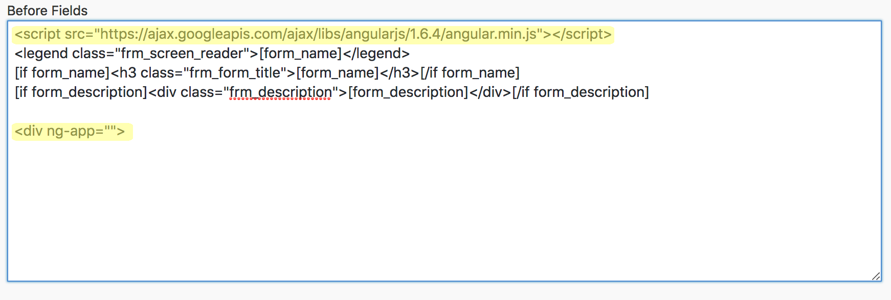 AngularJS Examples before fields