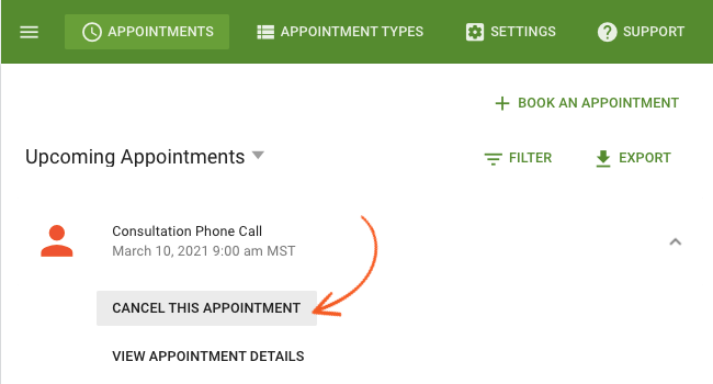 Appointment Cancel Booking