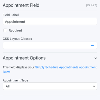 Appointment Booking Form - Field Options
