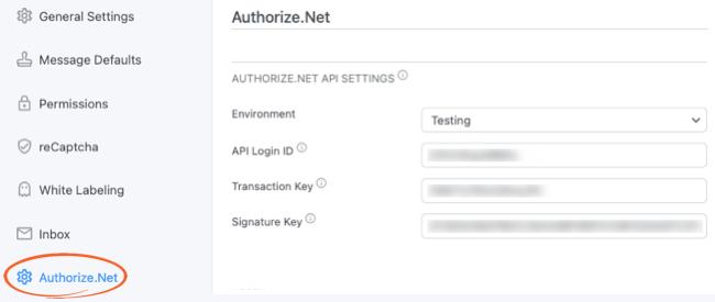 Authorize.net Global Settings