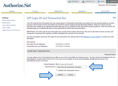Authorize.net Secret Answer