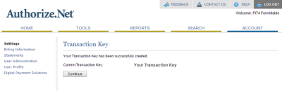 Authorize.net Transaction Key
