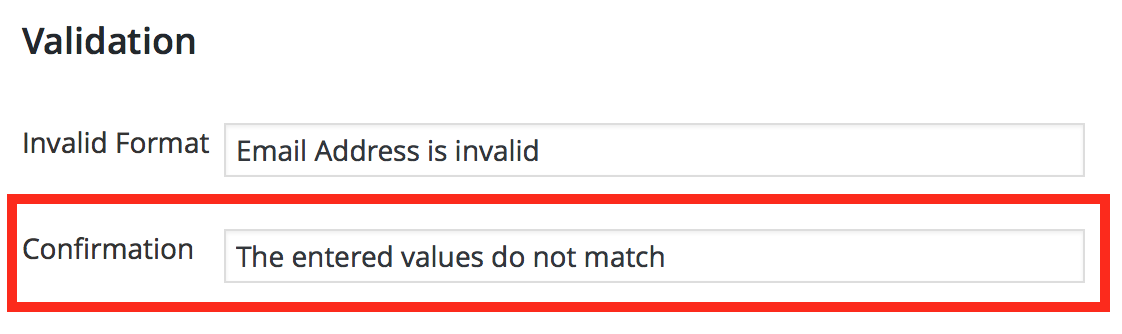 Confirmation Field Validation