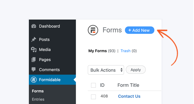 WordPress Create Form Add New