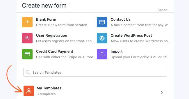 Create a Custom Template - Create Template
