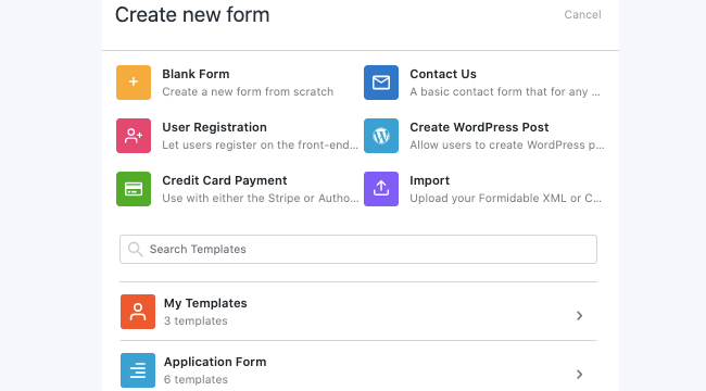 Create a Form from Template - Search form