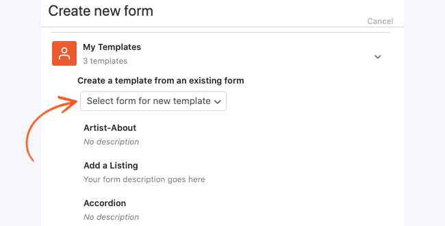Create a Custom Template - Select form