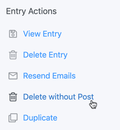 Delete entry without post