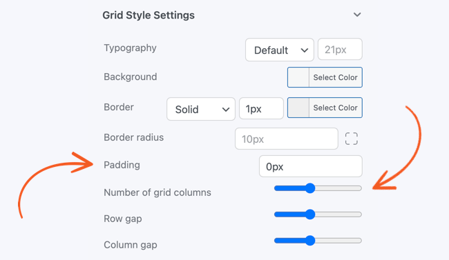 grid view styling