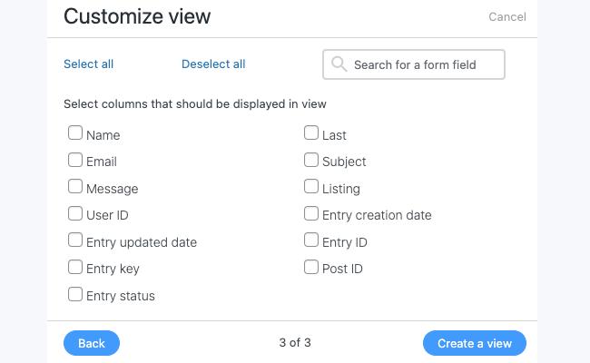 Visual table views - create a table