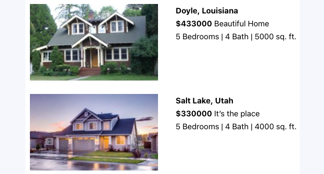 display real estate listings with Views