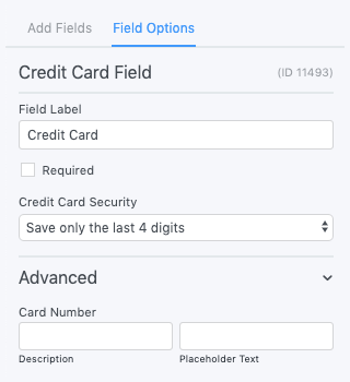 Credit Card Field Options