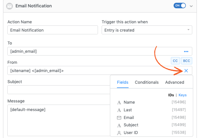 Customization Panel Modal Form Actions