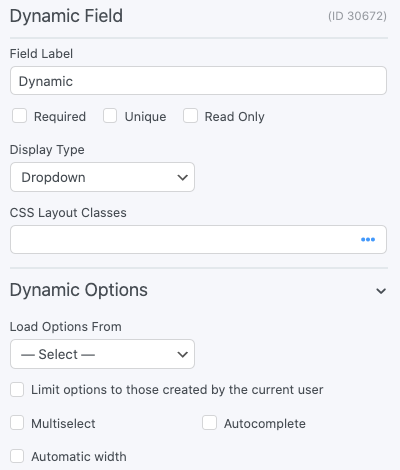 Dynamic field Options