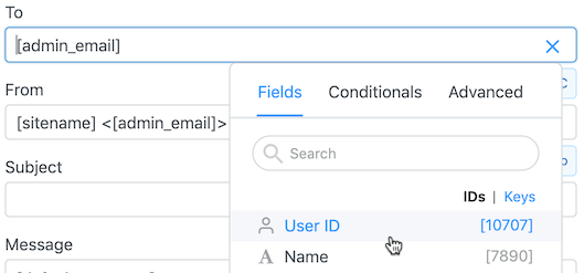 Insert field values in WordPress autoresponder email