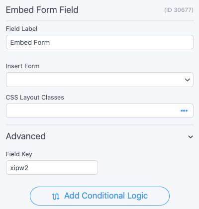 Embed Form Field Options