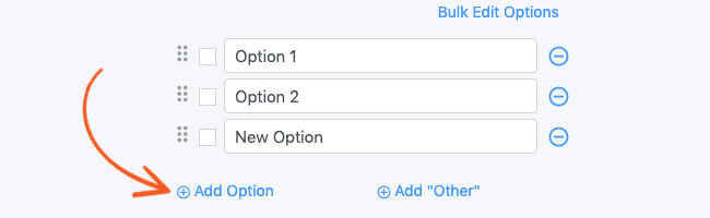 Field Options Add Option