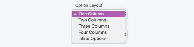 Field Options Option Layout Alignment