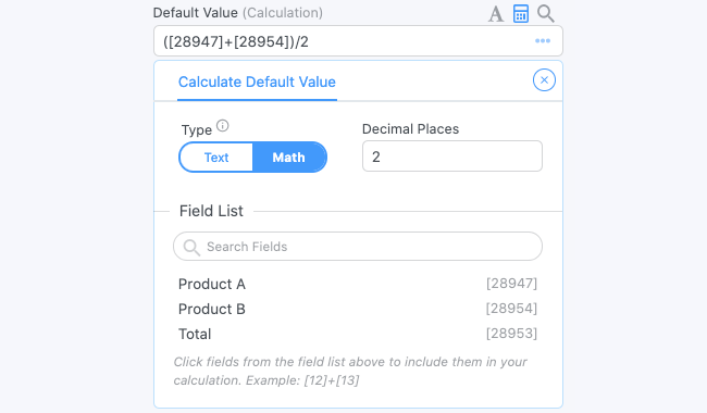 Field Options Calculations
