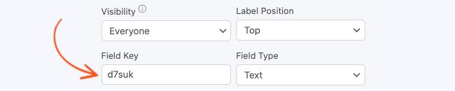 Field Options Field Key