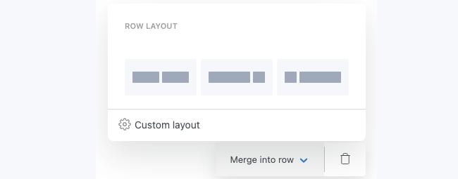 Field Options Merge Row layout
