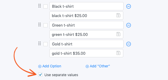 Field Options Separate Values