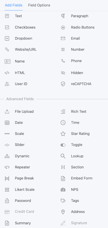 WordPress form builder field types