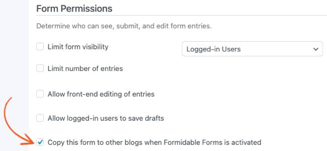 Form Settings Multisite Permissions